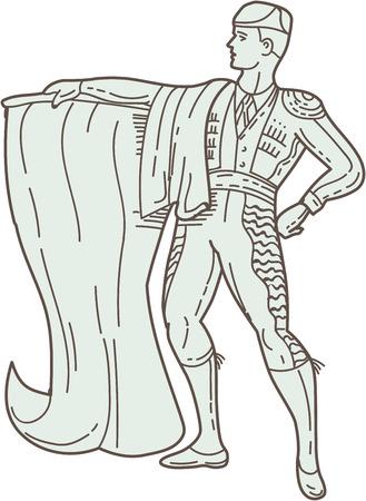 corrida de toros: Mono ilustración estilo de línea de un matador que sostiene capa española mira a la cara visto de frente fijó en el fondo blanco aislado. Vectores