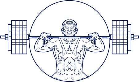 heavy weight: Mono line style illustration of a strongman lifting heavy weight barbell set inside circle viewed from front.
