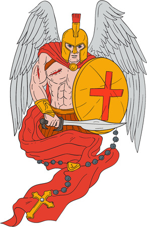 Drawing sketch style illustration of a wounded spartan warrior angel wearing helmet holding sword and shield with rosary viewed from front set on isolated white background.