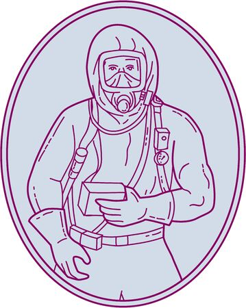 single man: Mono line style illustration of a worker in a haz chem suit set inside oval shape on isolated background.