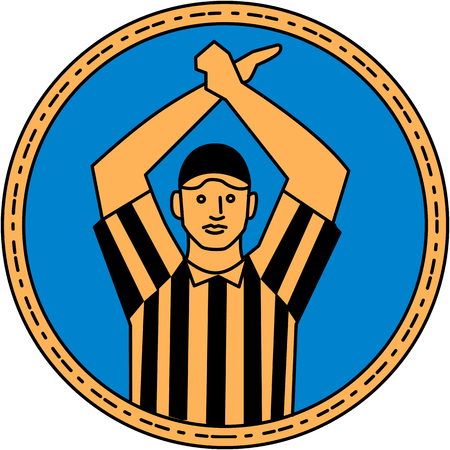 linesman: Mono line style illustration of an american football umpire doing a personal foul hand signal viewed from front set inside circle on isolated background.