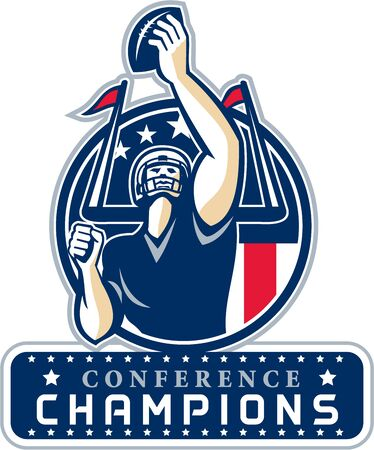 quarterback: Illustration of an american football quarterback holding up ball facing front set inside circle with stars and stripes flag with words Conference Champions New England done in retro style.