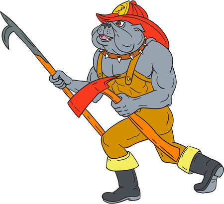 Drawing sketch style illustration of a bulldog firefighter fireman holding pike poke and fire axe walking viewed from the side on isolated white background.