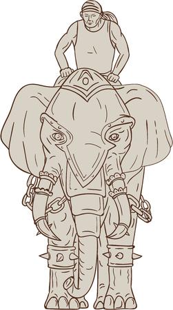 bocetos de personas: Gráfico de la ilustración del estilo del bosquejo de un elefante de guerra con el jinete mahout riding visto desde delante conjunto sobre fondo blanco aislado.