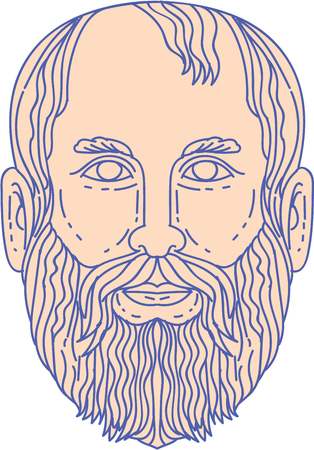 Mono line style illustration of the Greek philosopher Plato head viewed from front set on isolated white background. Çizim