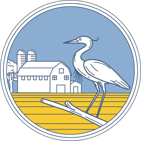 wading: Illustration of a great blue heron perched on a branch viewed from the side set inside circle with barn farm silo in the background done in retro style.
