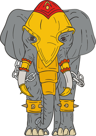 pachyderm: Drawing sketch style illustration of a war elephant with armor and chains viewed from front set on isolated white background.