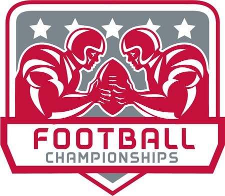 quarterback: Illustration of two american football quarterback holding up ball facing each other with stars set inside shield with words Football Championships done in retro style.