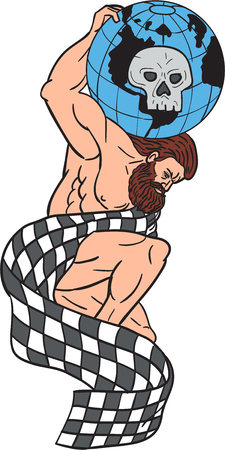 lifting globe: Drawing sketch style illustration of Atlas kneeling on one knee lifting globe with skull on his back draped checkered flag set on isolated white background.