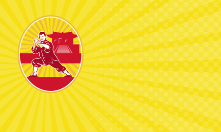 Business card showing Illustration of shaolin kung fu martial arts karate master in fighting stance with temple and sunburst in background set inside oval done in retro style.