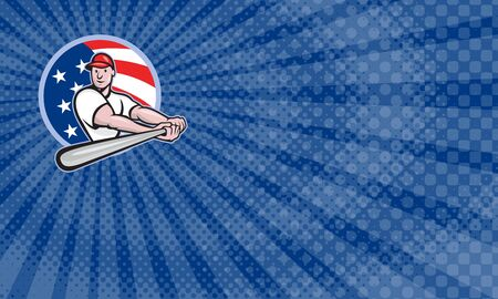 Business card showing Cartoon illustration of a baseball player with bat batting facing front set inside circle with stars and stripes flag in the background.