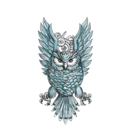 swooping: Tattoo style illustration of an owl swooping with clock gears behind its wings viewed from the front set on isolated white background.