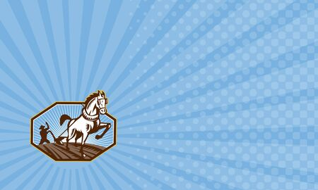 Business card showing Illustration of farmer and horse pulling plow plowing field done in retro style.