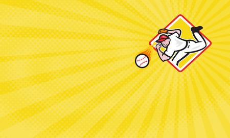 baseball diamond: Business card showing Illustration of an american baseball player pitcher outfielder throwing a fire fiery ball set inside diamond shape.