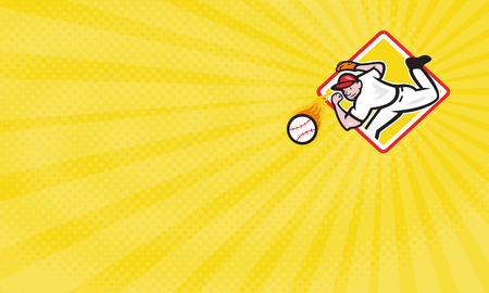 Business card showing Illustration of an american baseball player pitcher outfielder throwing a fire fiery ball set inside diamond shape.