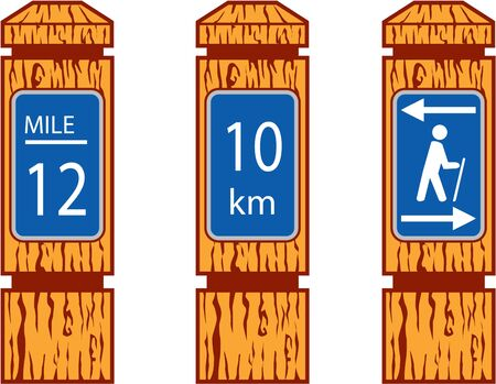 Illustration showing wooden mile marker signs like wood signs one would see along a hiking tramping trail set on isolated Illustration