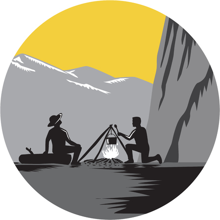 Two people sitting around a campfire. One kneeling and cooking, while one sitting on a log and looking up at 1000 foot sheer wall about 50 yards away set inside circle with mountains done in retro woodcut style.