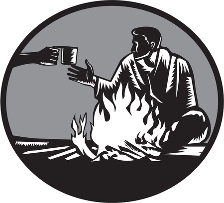 Illustration of camper with a sleeping bag wrapped around his shoulders, holding on tight, sitting in front of a fire, accepting a tin cup of hot coffee set inside circle done in retro woodcut style. Illustration