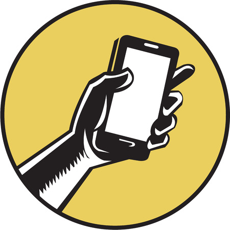 Illustration of a hand holding smartphone set inside circle on isolated done in retro woodcut style.