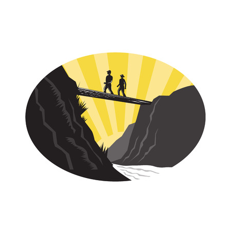 Illustration of  two trampers hikers crossing a deep with river below on a single log bridge set inside oval shape viewed from low angle with sunburst done in retro woodcut style. Illustration