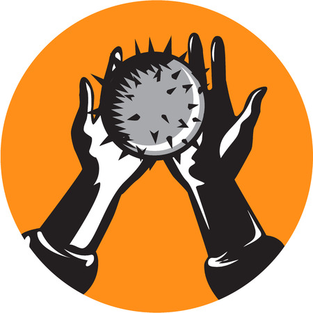 printmaking: Illustration of pair of hands holding a round shiny ball with numerous spikes set inside circle on isolated done in retro woodcut style. Illustration