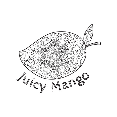Mandala style illustration of  a mango, a juicy tropical stone fruit drupe belonging to the genus Mangifera set on isolated with the word text Juicy Mango done in black and white. Illustration