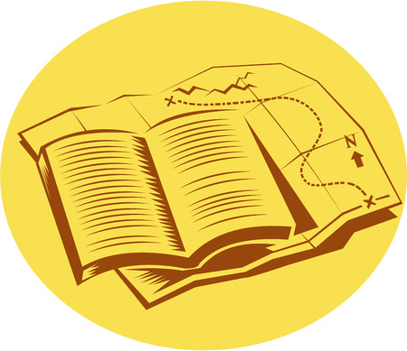 Illustration of an open book on top of a trail map set inside oval shape on isolated background done in retro woodcut style.
