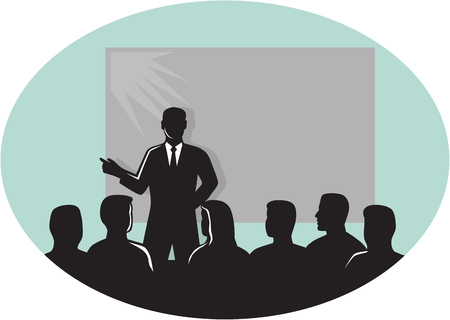 Illustration of a speaker talking in front of audience with a projector screen at the back set inside oval shape done in retro woodcut style . Illustration