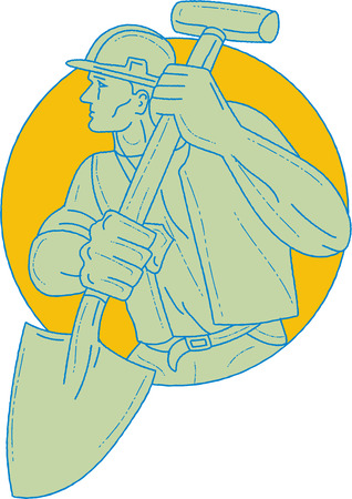 Drawing sketch style illustration of a construction worker wearing hard hat holding shovel looking to the side set inside circle on isolated Illustration