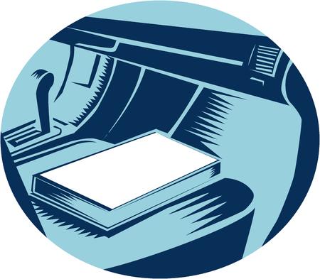 silhouette voiture: Illustration montrant Gros plan du Livre assis sur le siège passager de la voiture, ensemble, intérieur forme ovale fait dans le style de gravure sur bois rétro. Illustration