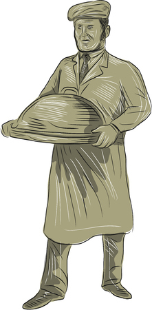serving food: Drawing sketch style of a Victorian waiter holding serving food in a platter set on isolated white background.
