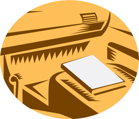 drivers seat: Illustration showing a book sitting on the passenger seat of car from a drivers point of view set inside circle done in retro woodcut style.
