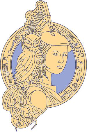 Mono lijn stijl illustratie van Athena of Athene, de godin van wijsheid, ambacht en oorlog in de oude Griekse religie en mythologie met uil neergestreken op schouder ingesteld binnen cirkel met elektronische printplaat ingesteld op geïsoleerde witte achtergrond. Stock Illustratie
