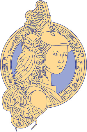 Mono line style illustration of Athena or Athene, the goddess of wisdom, craft, and war in ancient Greek religion and mythology with owl perched on shoulder set inside circle with electronic circuit board set on isolated white background. Illustration