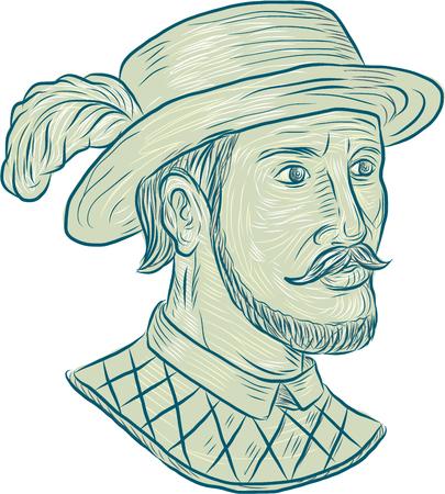 스페인어 탐험가이자 정복자 인 Juan Ponce de Leon의 스케치 스타일 그림을 그리기, 격리 된 흰색 배경에 설정된 청소년 분수를 검색하면서 플로리다에 처 일러스트
