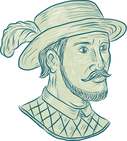 conquistador: Drawing sketch style illustration of Juan Ponce de Leon, a Spanish explorer and conquistador who led the first European expedition to Florida while searching for the Fountain of Youth set on isolated white background.