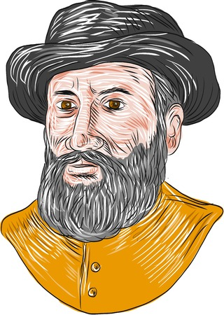 beard man: Drawing sketch style illustration of Ferdinand Magellan aka Fernando de Magallanes,a Portuguese explorer who organised the Spanish expedition to the East Indies from 1519 to 1522, resulting in the first circumnavigation of the Earth bust viewed from front