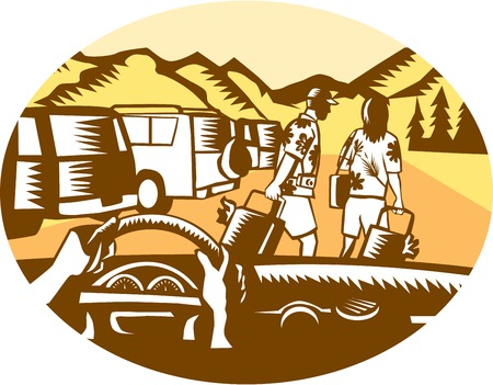 printmaking: Illustration showing hands on steering wheel looking out of car windshield, with man and woman, wearing Hawaiian shirts, pulling suitcases at a parking lot full of cars at the base a mountain set inside oval shape done in retro woodcut style.