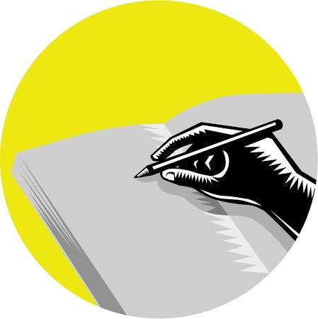 Illustration einer Hand schriftlich in Zeitschrift gesetzt im Kreis auf isolierte Hintergrund getan im Retro-Holzschnitt Stil. Vektorgrafik