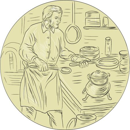 Drawing sketch style illustration of a cook chef in medieval times wearing apron holding pan cooking in the kitchen set inside oval shape. Illustration