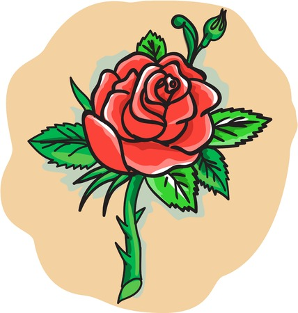 buds: Tattoo style illustration of a red rose bud with leaves on a stem with thorns set on isolated white background.