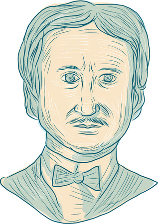 critic: Drawing sketch style illustration of Edgar Allan Poe, an American writer, editor, poet and literary critic viewed from the front set on isolated white background. Illustration