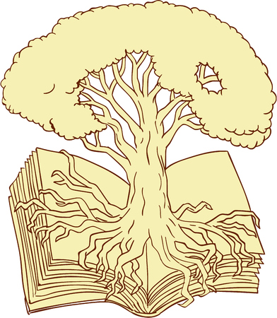 Drawing sketch style illustration of an oak tree rooted on book set on isolated white background.