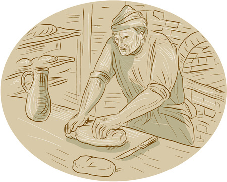 Drawing sketch style illustration of a  baker chef cook in medieval times kneading dough bread in the kitchen set inside oval shape with oven kitchen in the background. Illustration