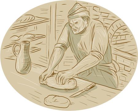 Zeichnung Skizze Stil Illustration eines Bäcker Koch Koch im Mittelalter Kneten Teig Brot in der Küche in Oval-Form mit Backofen Küche im Hintergrund gesetzt.