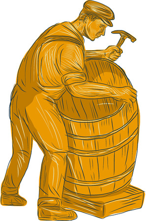 Drawing sketch style illustration of a cooper with hammer making a wooden barrel, cask or bucket viewed from the side set on isolated white background. Illustration