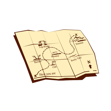 x marks the spot: `Illustration of a folded Trail Map with ÒXÓ marks the spot , Here you are dotted line winding trail up with indicators for cliff, ravine, log bridge, Meadow, Rocky trail, to the right top corner and to the summit set on isolated white background done i