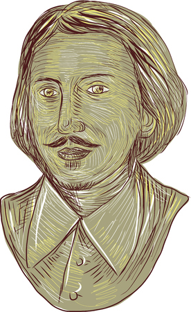 bard: Drawing sketch style illustration of Christopher Marlowe, also known as Kit Marlowe, an English playwright, poet and translator of the Elizabethan era bust viewed from front set on isolated white background. Illustration