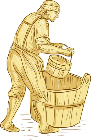 the miller: Drawing sketch style illustration of a medieval miller or milne carrying bucket with barrel on the ground viewed from the side set on isolated white background.