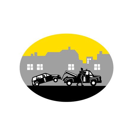 silhouette voiture: Illustration de voiture étant remorqué avec des passagers à l'intérieur tandis que l'homme tente d'arrêter le remorquage chauffeur de camion avec des bâtiments en arrière-plan fixés à l'intérieur de forme ovale fait dans le style de gravure sur bois rétro.